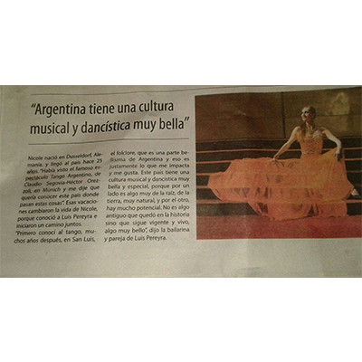 Argentina has a wonderful musical and dance culture, Nuevo Diario 2015