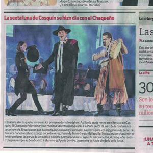 Nicole Nau, Luis Pereyra, Chaqueno Palavecino beim größten festival Südamerikas, Artikel TELAM; Open Air, 2013