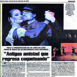 Alte Freundschaft kehrt flirtend zurück, Wiedereröffnung des Café de los Angelitos, Buenos Aires, 2006