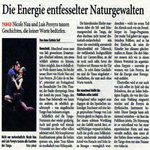 Die Energie entfesselter Naturgewalten. Übertroffen wird Pereyra nur noch von sich selbst. Nicole Nau & Luis Pereyra tanzen Geschichten, die keiner Worte bedürfen, RGA 2008
