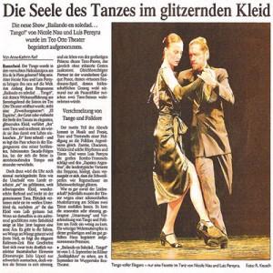 Die Seele des Tango im gltzernden Kleid, Premiere wurde begeistert aufgenommen, RGA 2006