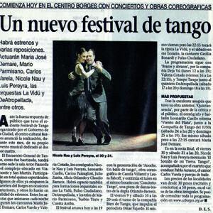 Ein neues Tangofestival, Vorankündigung, La Prensa, 2008