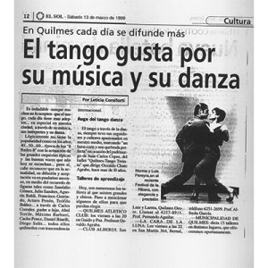 The Tango is loved for their music and dance, 1998