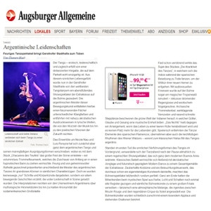 Fiery dance spectacle brings Stadthalle to romp. Thunderous applause, standing ovation, 2014 Augsburger Zeitung