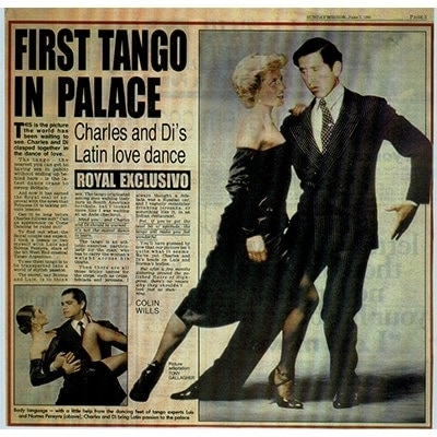 First Tango in Palace, Lady Di and Prince Charles with Luis Pereyra