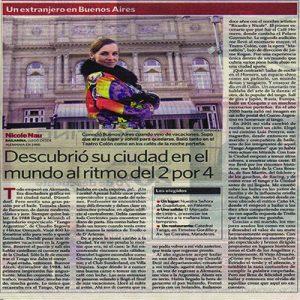 Ganzseitiges Portrait in der größten Zeitung Argentiniens, Clarin 2011
