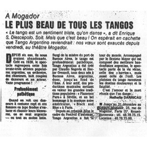 The most beautiful of all tangos, Paris Le Monde