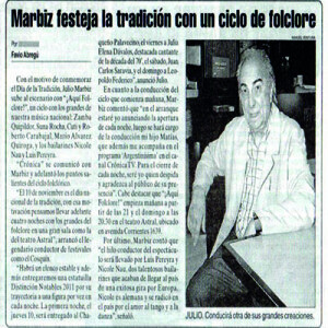 Mahrbiz feiert mit der Folklore. Nau Pereyra als künstlerische Leiter unter Vertrag, 2011
