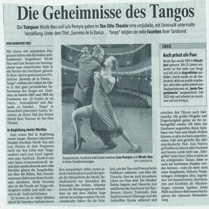 Minutos de aplausos furiosos, exultación, exclamaciones de Bravo eran el resultado de una producción verdadera y magistral. Teo Otto Theater 2007