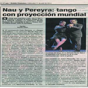 Nau Pereyra ist eines der interessantesten Paare dieses Genre, ohne Zweifel. Ambito Financiero, Argentinien, 2012