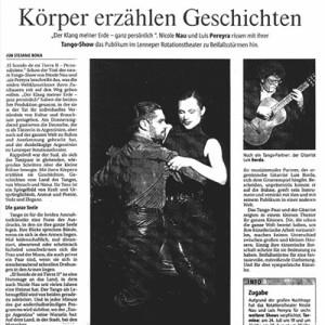 Nau Pereyra lograron ovaciones de pie, aplausos tormentosos, Bergische Morgenpost 2003