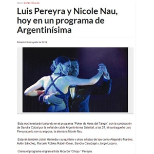 Nicole Nau & Luis Pereyra today in a TV program Argentinisima 2015