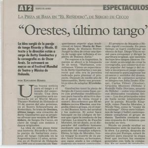 Orestes ultimo Tango, Oper - Coproduktion Nicole Nau