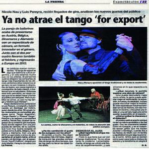 Reportaje con Luis Pereyra: el tango for export ya no atrae, La Prensa 2011