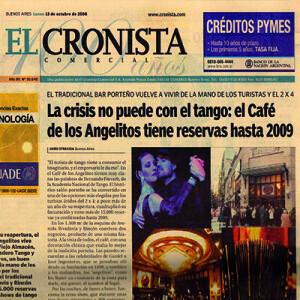 Die Krise kann nicht mit dem Tango, Das Café de los Angelitos hat Reservierungen bis 2009, Titelseite, El Cronista 2006