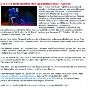 Sie sind Botschafter des argentinischen Tanzes, Frankfurter Neue Presse, 2011