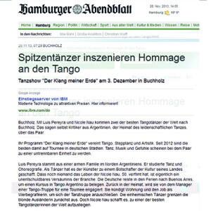 Bailarines magistrales inician homenaje al tango, 2013 Hamburger Abendblatt