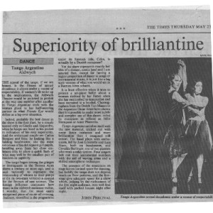 Superiority of Brillantine, The Times, Adwych Theatre