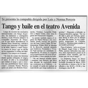 Tango und Tanz im Theater Avenida, 1998