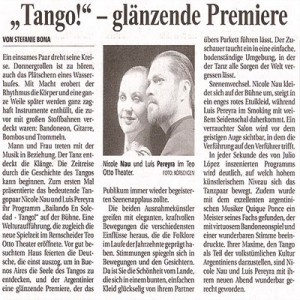 Tango, glänzende Premiere, Teo Otto Theater 2006