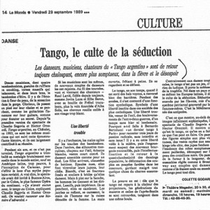 Tango, the cult of seducción, Le Monde