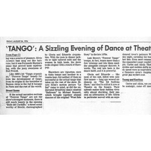Tango, sizzeling Evening at theatre