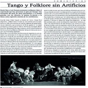 Tango y Folklore. Sin arificios. Balletin Dance 2012