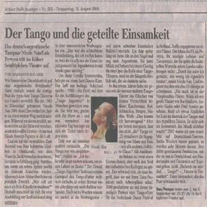 Tango y la soledad compartida, Kölner Rundschau 2006