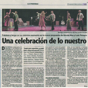 Tango und folklore in seiner höchsten Vollendung, La Prensa, 2011