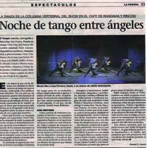 Noche de Tango entre ángeles, Nau Pereyra frente a un elenco de sólido desempeño. La prensa 2007
