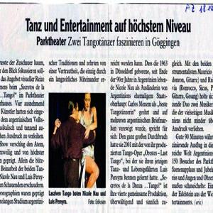 Tanz und Entertainment auf höchstem Niveau. Szenenablaus und Jubelrufe. Ein glitzernder Edelstein in der Welt des Entertainment. Parktheater. AZ, 2007