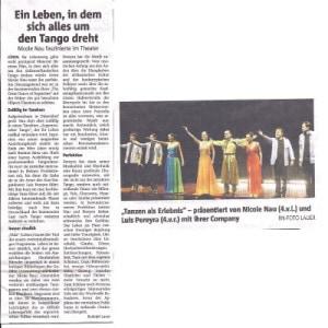 Dancing as experiance, 2014 Rhein Neckar Zeitung