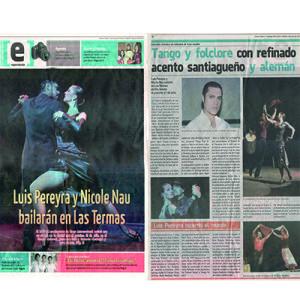 Luis Pereyra y Nicole Nau bailarán en las termas, 2011