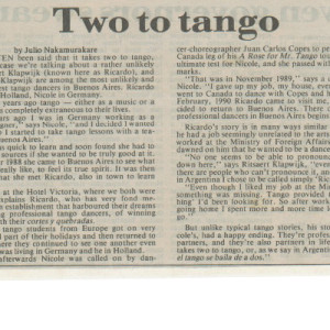 Two to Tango, The Herald