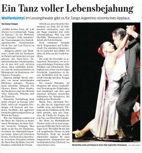 Ein Tanz voller Lebensbejahung - Kritik Wolfenbuettel